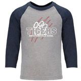 North Stratfield School Tigers Raglan Baseball Style 3/4 Sleeve Youth Tee Shirt