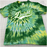 Dwight Script Hand-made Tie-dyed T-shirt in Youth and Adult Sizes