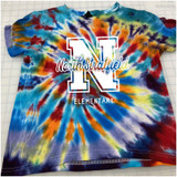 North Stratfield Varsity Hand-made Rainbow Tie-dyed T-shirt in Youth and Adult Sizes
