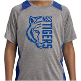 North Stratfield Tigers Heather and Royal Youth Colorblock Contender Short Sleeve Shirt