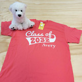 Coral pink class of 2032 flag with year and name adult shirt