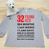 Your Age or Birthday Calculated Adult Long Sleeve Shirt
