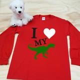 I Love My Velociraptor Youth Long Sleeve Shirt