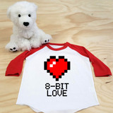 8-Bit-Love Toddler Raglan 3/4 sleeves