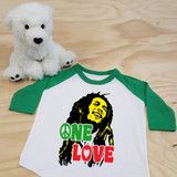 "Bob Marley ""One Love"" Tribute Toddler Raglan 3/4 sleeves"