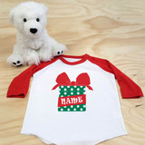 Christmas Present Toddler Raglan 3/4 sleeves