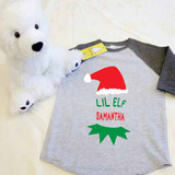 Christmas Lil Elf Toddler Raglan 3/4 sleeves