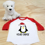 Christmas Penguin Toddler Raglan 3/4 sleeves