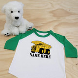 Construction Dump Truck Toddler Raglan 3/4 sleeves