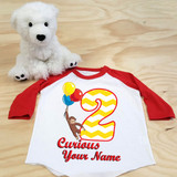 Curious George Birthday Balloons Toddler Raglan 3/4 sleeves