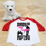 Daddy and his Twin Daughters Besties For Life Toddler Raglan 3/4 sleeves