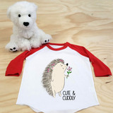 Cute and Cuddly Hedgehog Toddler Raglan 3/4 Sleeves