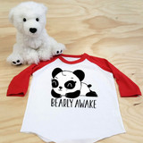 Bearly Awake Panda Toddler Raglan 3/4 Sleeves