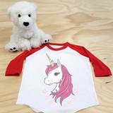 Pink Unicorn Toddler Raglan 3/4 Sleeves