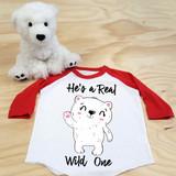 He's A Real Wild One Polar Bear Toddler Raglan 3/4 Sleeves