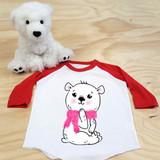 Pink Scarf Polar Bear Toddler Raglan 3/4 Sleeves