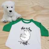 Green and White This Is How I Roll Panda Bear Toddler Raglan 3/4 Sleeves