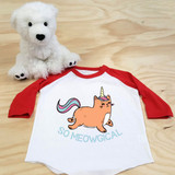 Red and White So Meowgical Toddler Raglan 3/4 Sleeves
