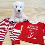 dabbing reindeer red and white toddler pajamas