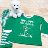 dabbing reindeer green and white kids pajamas