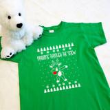 dabbing reindeer green kids shirt