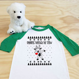 dabbing reindeer green and white kids 3/4 sleeve raglan
