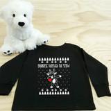 dabbing reindeer black toddler long sleeve shirt