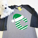 Christmas Letters Adult Raglan 3/4 Sleeve