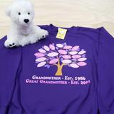 Family Tree in Color for Women Adult Crew Neck Sweatshirt