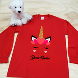 Red Unicorn Heart Adult Long Sleeve Shirt