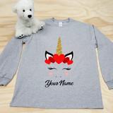 Heather Gray Unicorn Heart Youth Long Sleeve Shirt