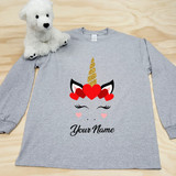 Heather Gray Unicorn Heart Youth Long Sleeve Shirt