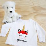 White Unicorn Heart Toddler Long Sleeve Shirt
