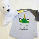 Dark and Heather Gray St Patrick's Day Unicorn Crown Kids Raglan 3/4 Sleeve