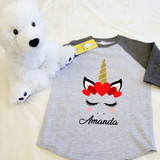 Unicorn Heart Crown Toddler Raglan 3/4 Sleeve
