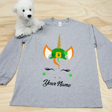St. Patrick's Day Unicorn with Hat Adult Long Sleeve