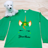 St. Patrick's Day Unicorn with Hat Youth Long Sleeve Shirt