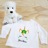 St. Patrick's Day Unicorn with Hat Toddler Long Sleeve Shirt