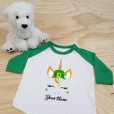 St. Patrick's Day Unicorn with Hat Toddler Raglan 3/4 Sleeve