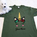 Flower Crown Unicorn Adult Shirt