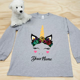 Flower Crown Unicorn Adult Long Sleeve Shirt