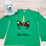 Flower Crown Unicorn Youth Long Sleeve Shirt