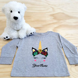 Flower Crown Unicorn Long Sleeve Shirt in Baby and Toddler