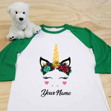 Flower Crown Unicorn Adult Raglan 3/4 Sleeve