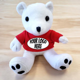 "6"" Polar Bear Stuffed Animal - Custom Logo"