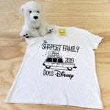 Your family does disney ladies fitted v-neck SAMPLE