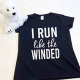 I Run Like The Winded Ladies Fitted Shirt