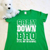 Calm Down Bro It's P.E. Ladies Fitted Shirt