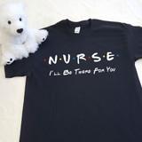 Friends Theme Nurse on Adult Unisex Black T-Shirt