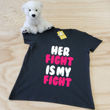Her Fight Is My Fight Ladies Fitted V-Neck Shirt